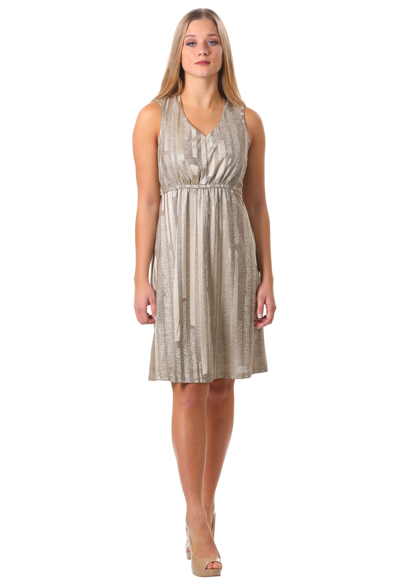 Metallic V Neck Fit and Flare Dress