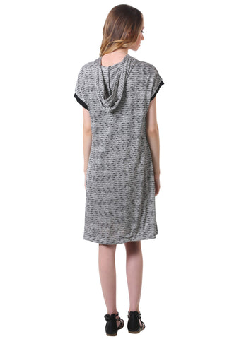 Grey T-Shirt Hoodie Dress
