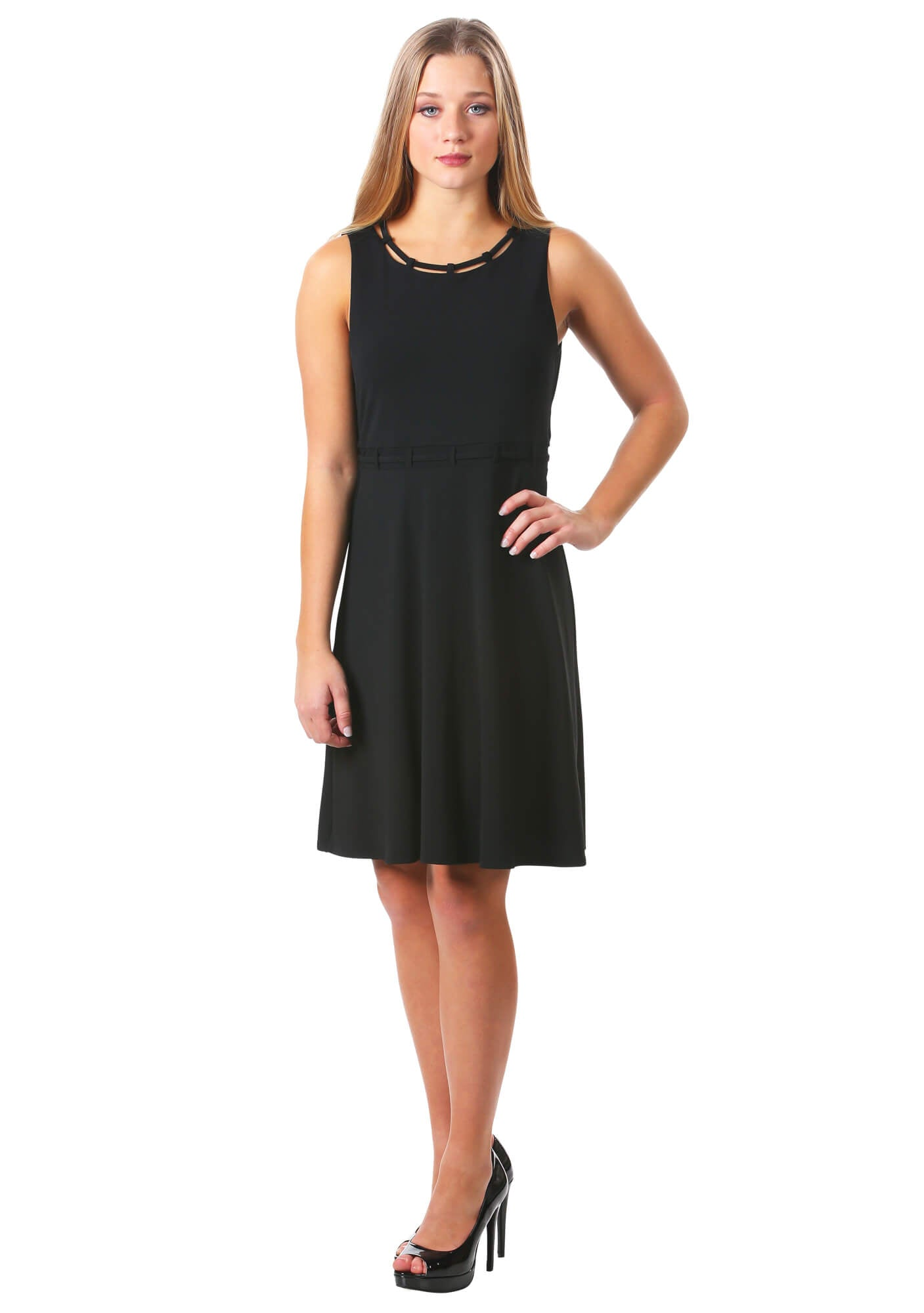 Looped Trim Fit and Flare Dress in Black