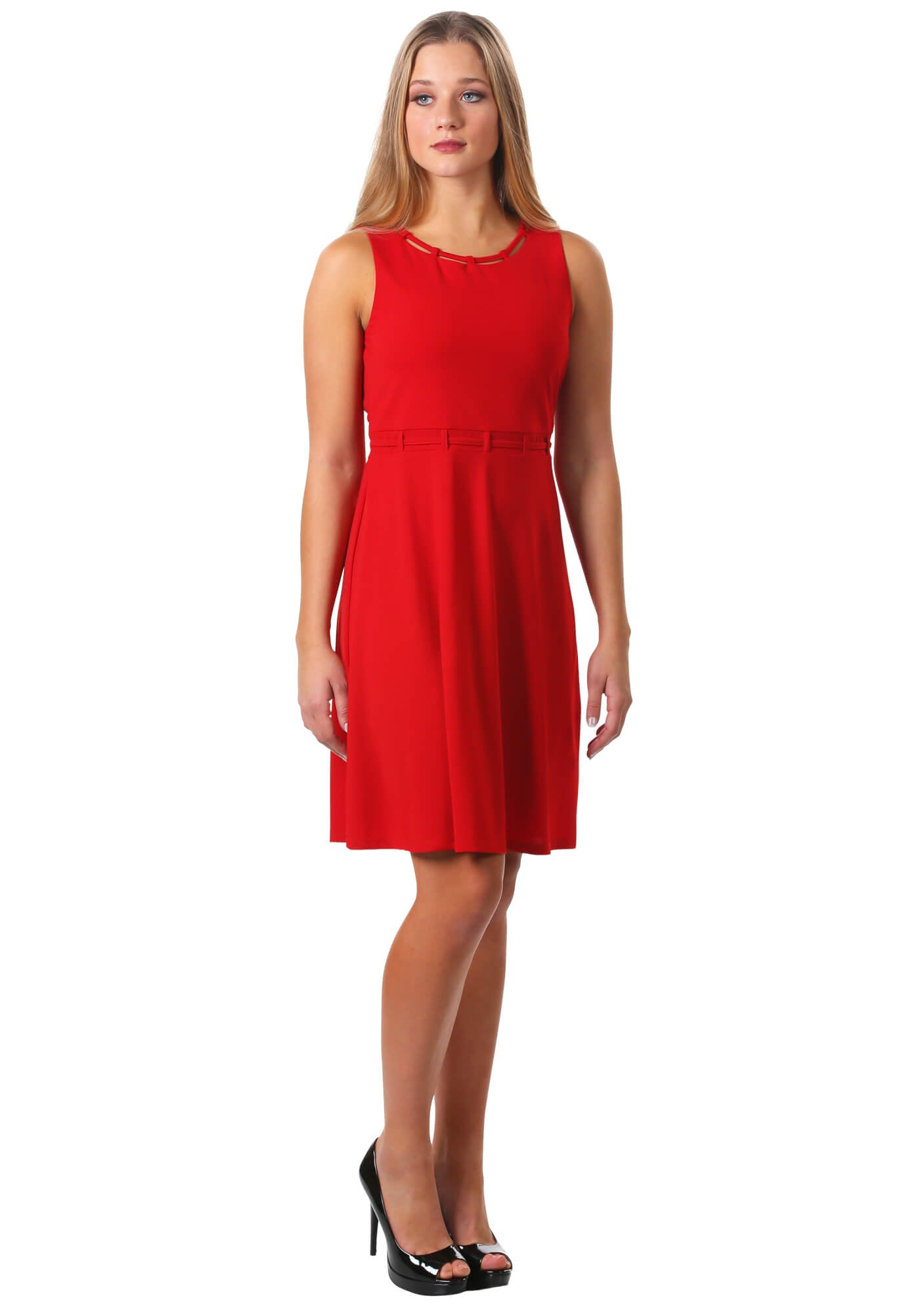 Looped Trim Fit and Flare Dress in Red
