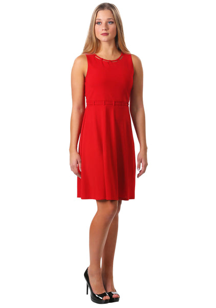 Looped Trim Fit and Flare Dress