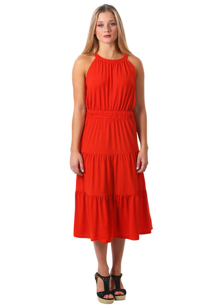 Orange Tiered Midi Dress