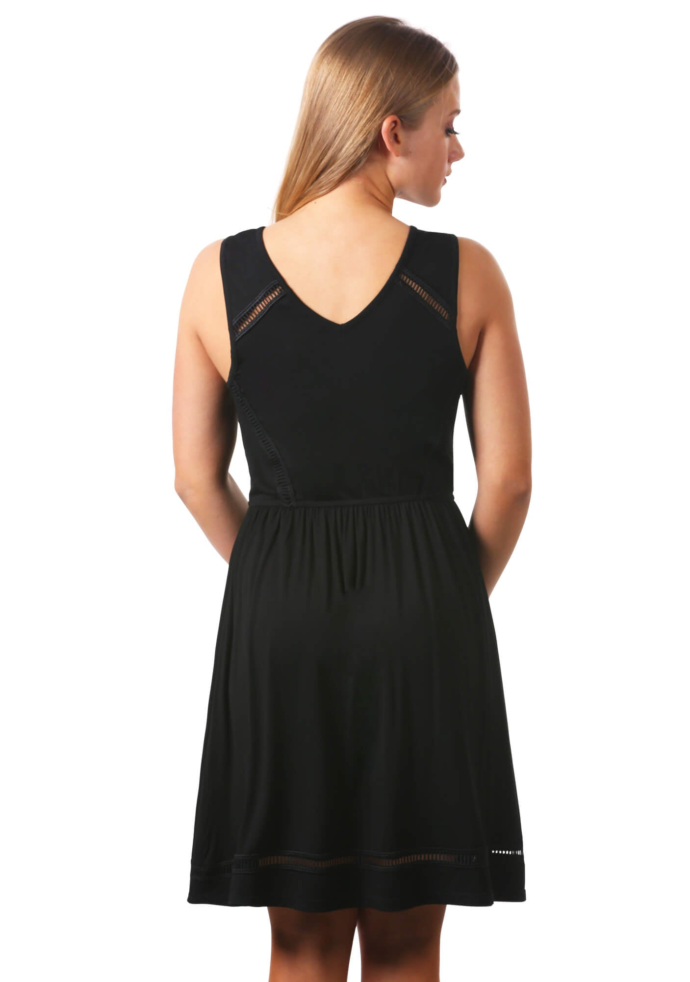 Open Trim Surplice Fit and Flare Little Black Dress