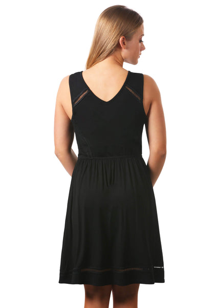 Open Trim Surplice Fit and Flare Dress | Little Black Dress | Black