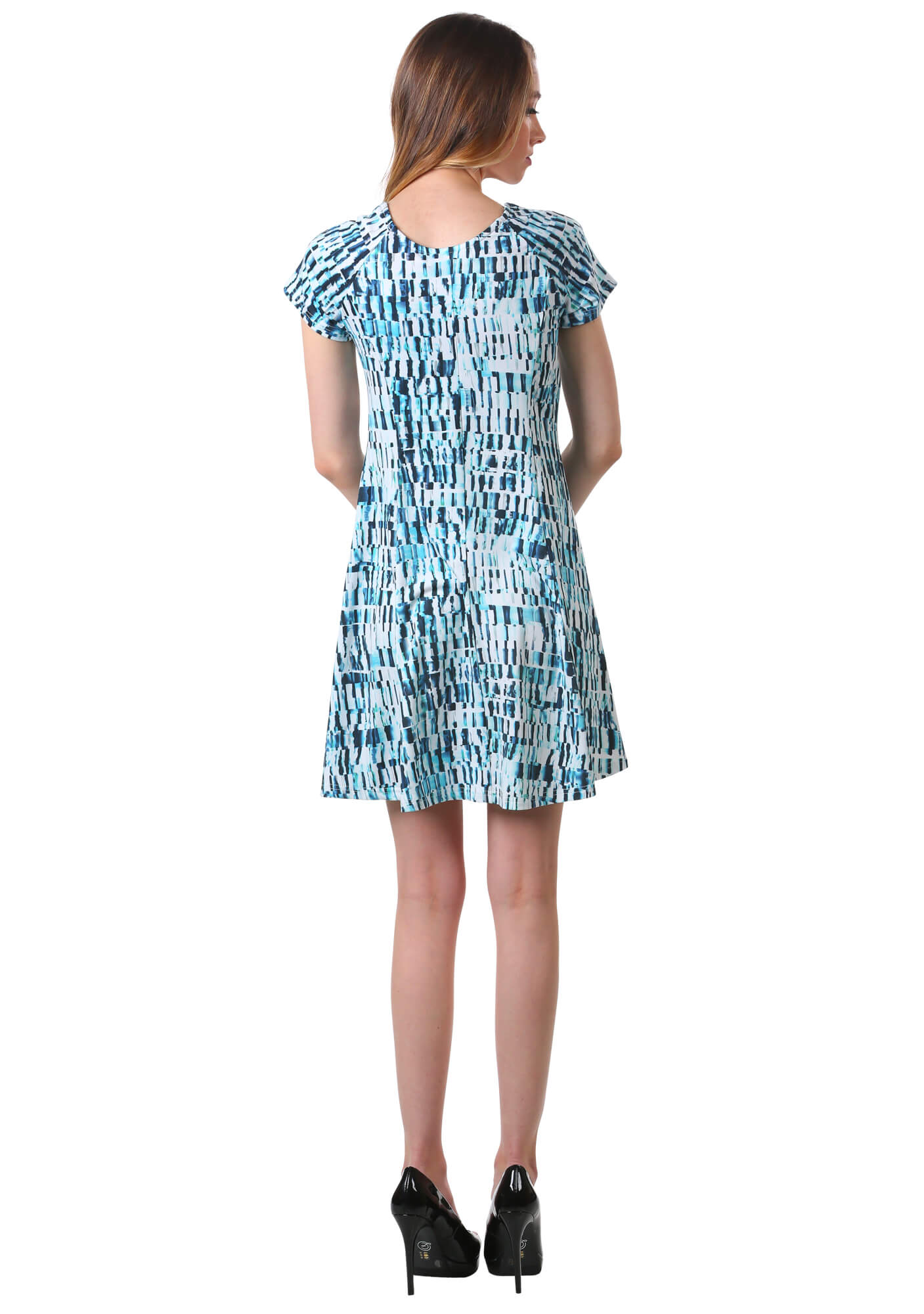 Printed Scoop Neck A Line Dress in Teal