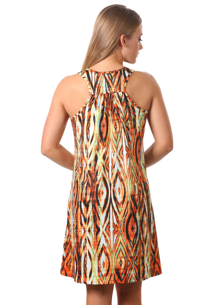 Printed Racer Back Swing Dress