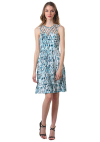 Criss Cross Lattice Fit and Flare Dress in Teal