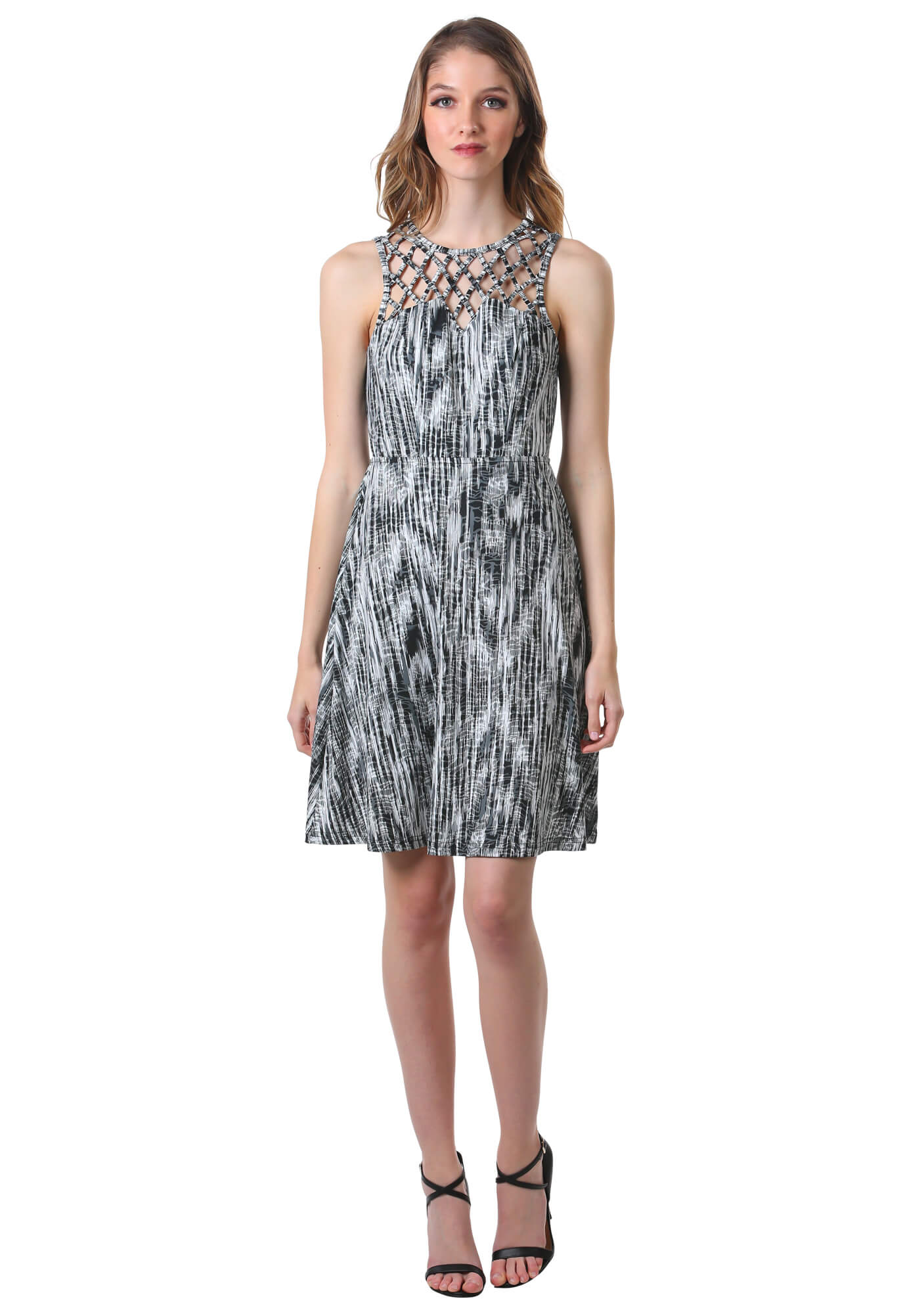 Criss Cross Lattice Fit and Flare Dress