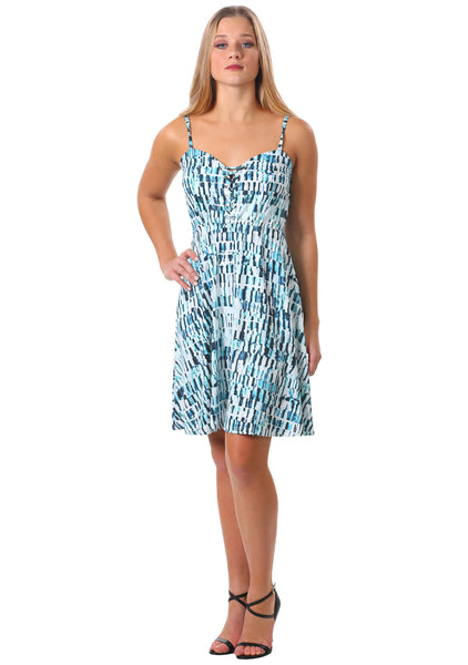 Teal Criss Cross Spaghetti Strap Sun Dress