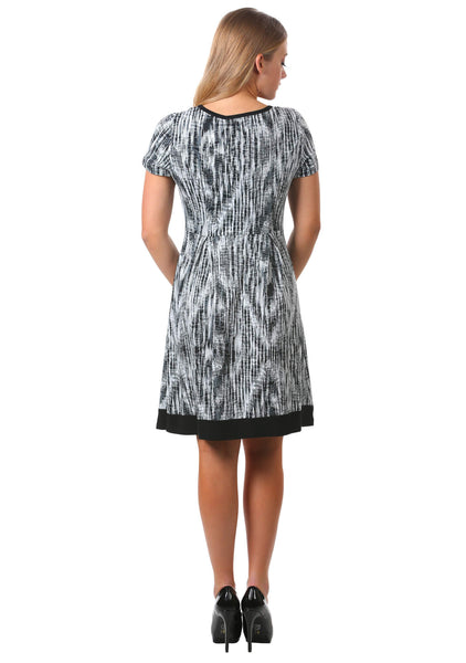 Printed Keyhole Box Pleat Dress