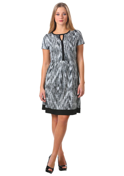 Keyhole Box Pleat Dress w/ Trim