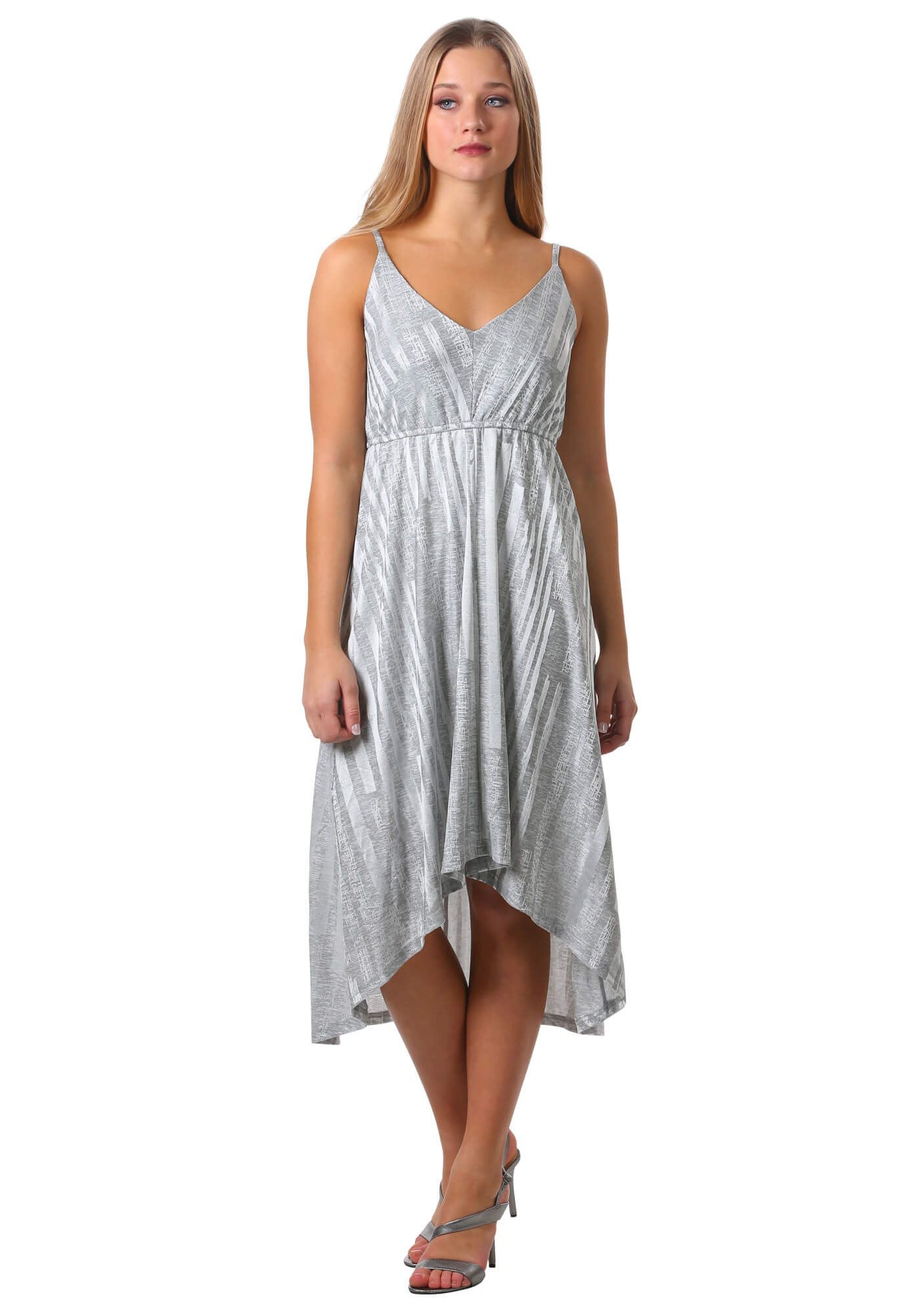 Metallic High Low V-Neck Dress