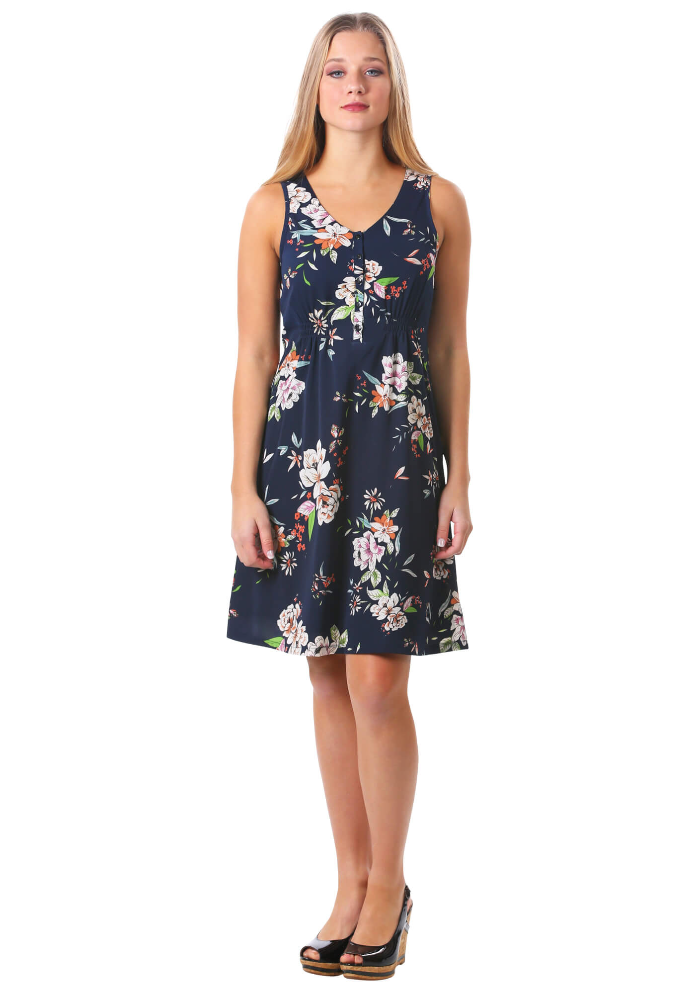 Floral Smocked Button Dress in Navy