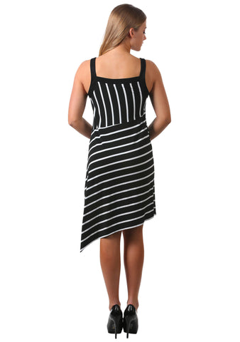 Black Striped Asymmetrical Slit Dress