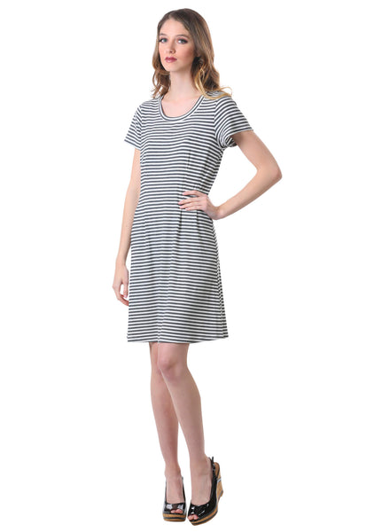 Striped Rib Knit T-Shirt Dress