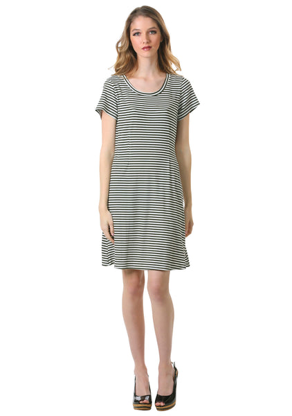 Striped Rib Knit T-Shirt Dress in Olive