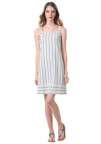 Black and White Striped Panel Shift Dress