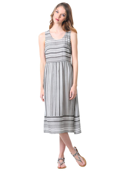 Striped Hampton Midi Sun Dress in Black and White
