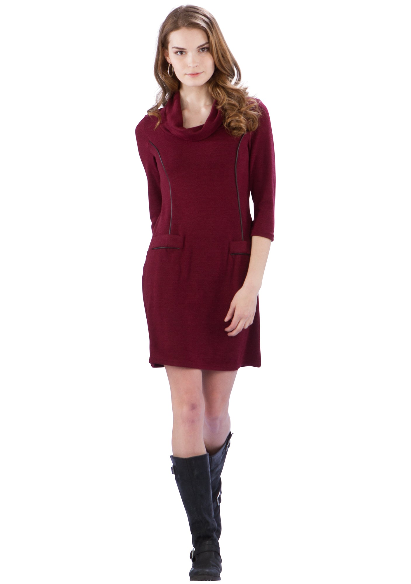 Cowl Neck Sweater Dress with Faux Leather Piping