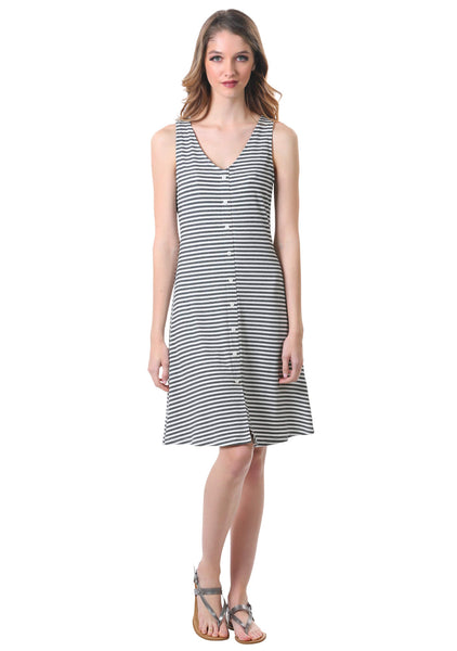 Striped Rib Knit Button Dress in Grey