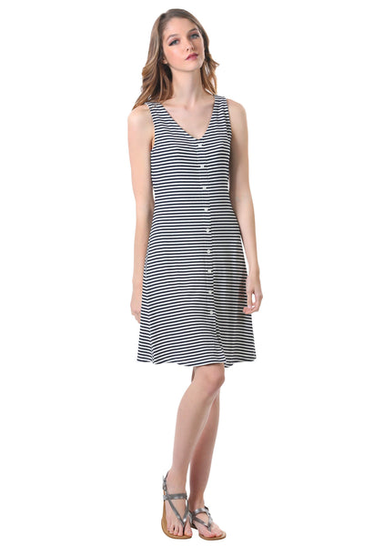 Striped Rib Knit Button Dress