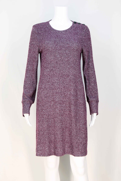 Cozy Rib Knit Button Dress