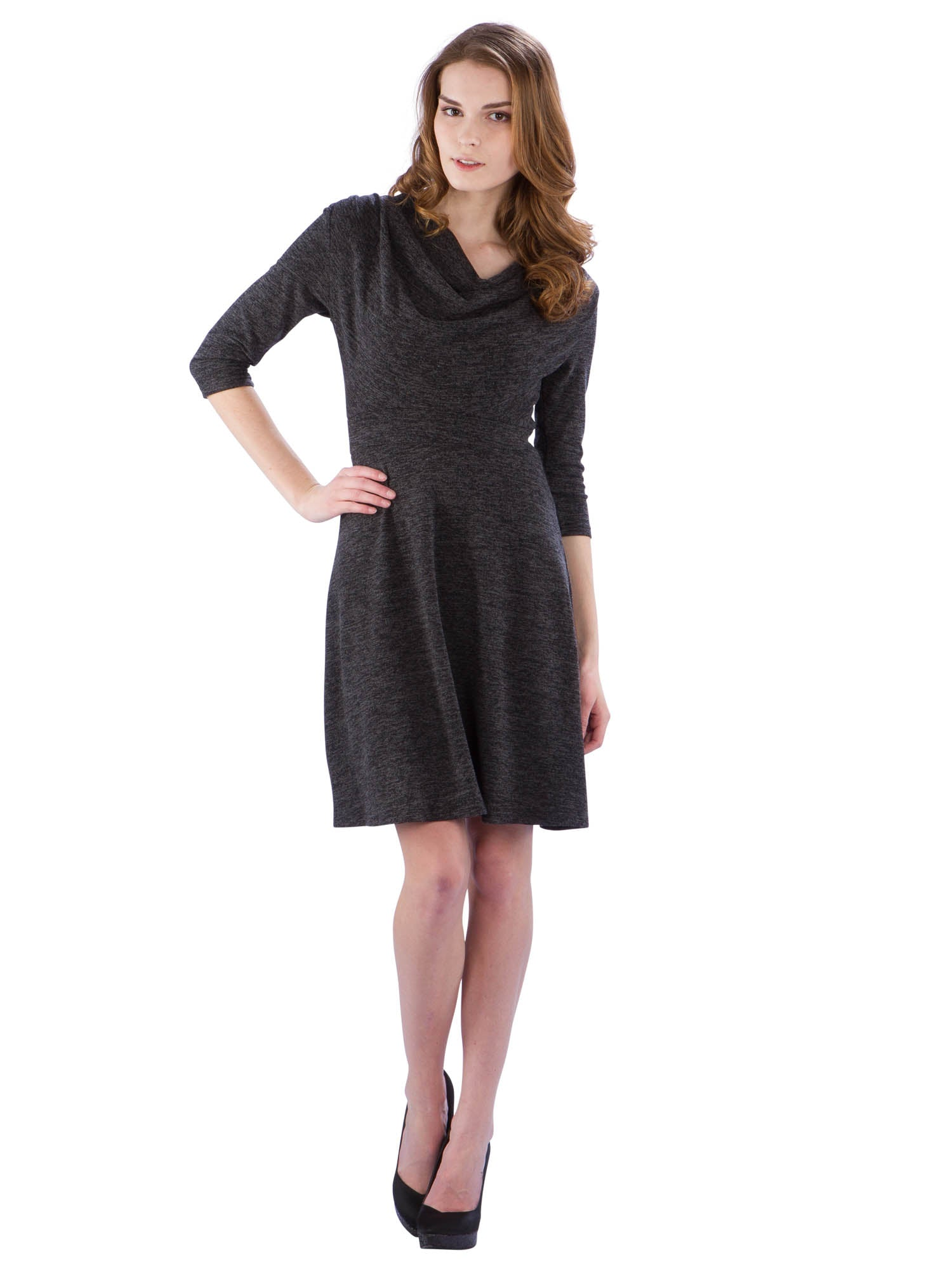 Cowl Neck Sweater Dress with 3/4 Sleeves
