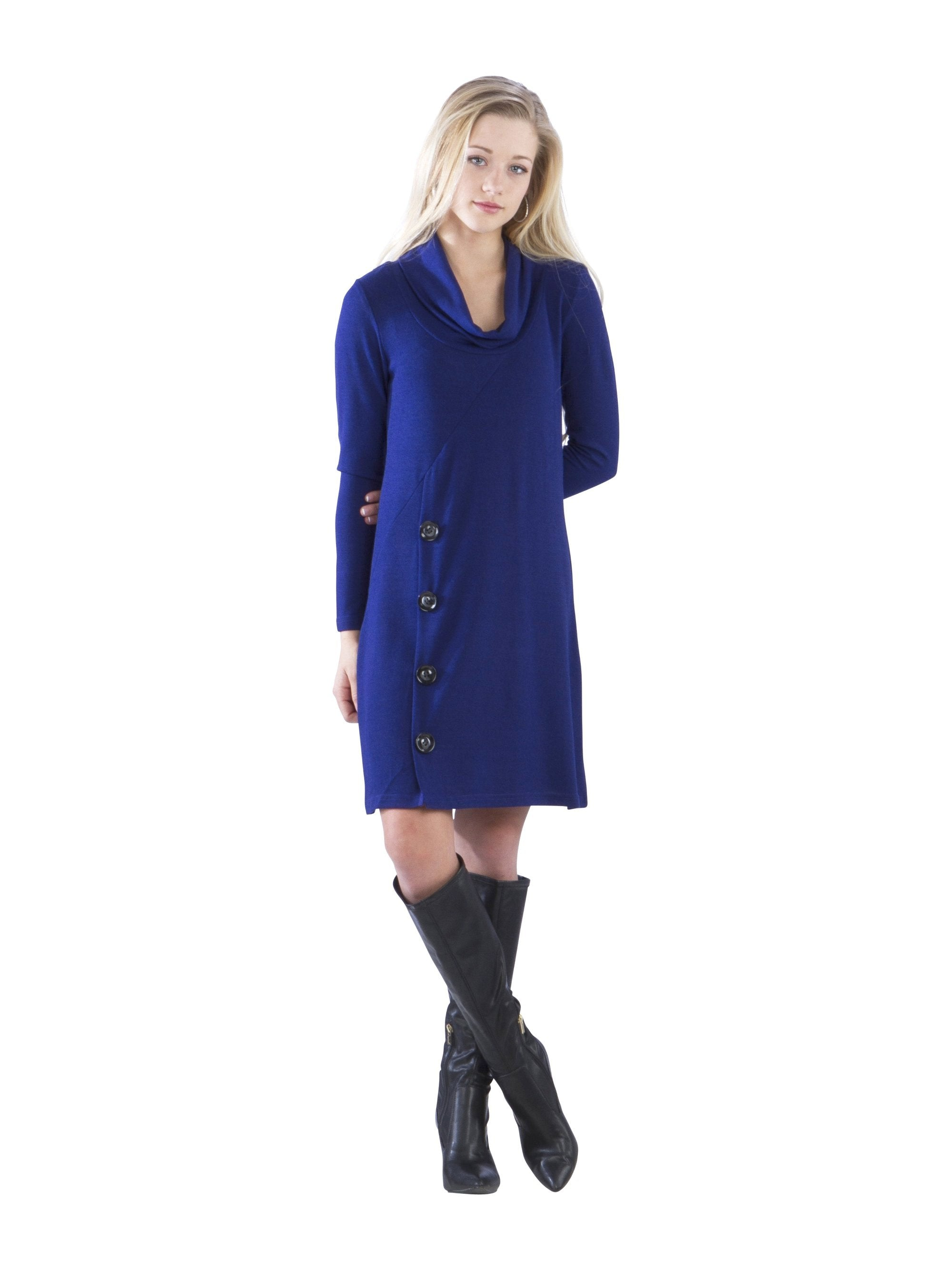 Cowl Neck Sweater Dress with Buttons