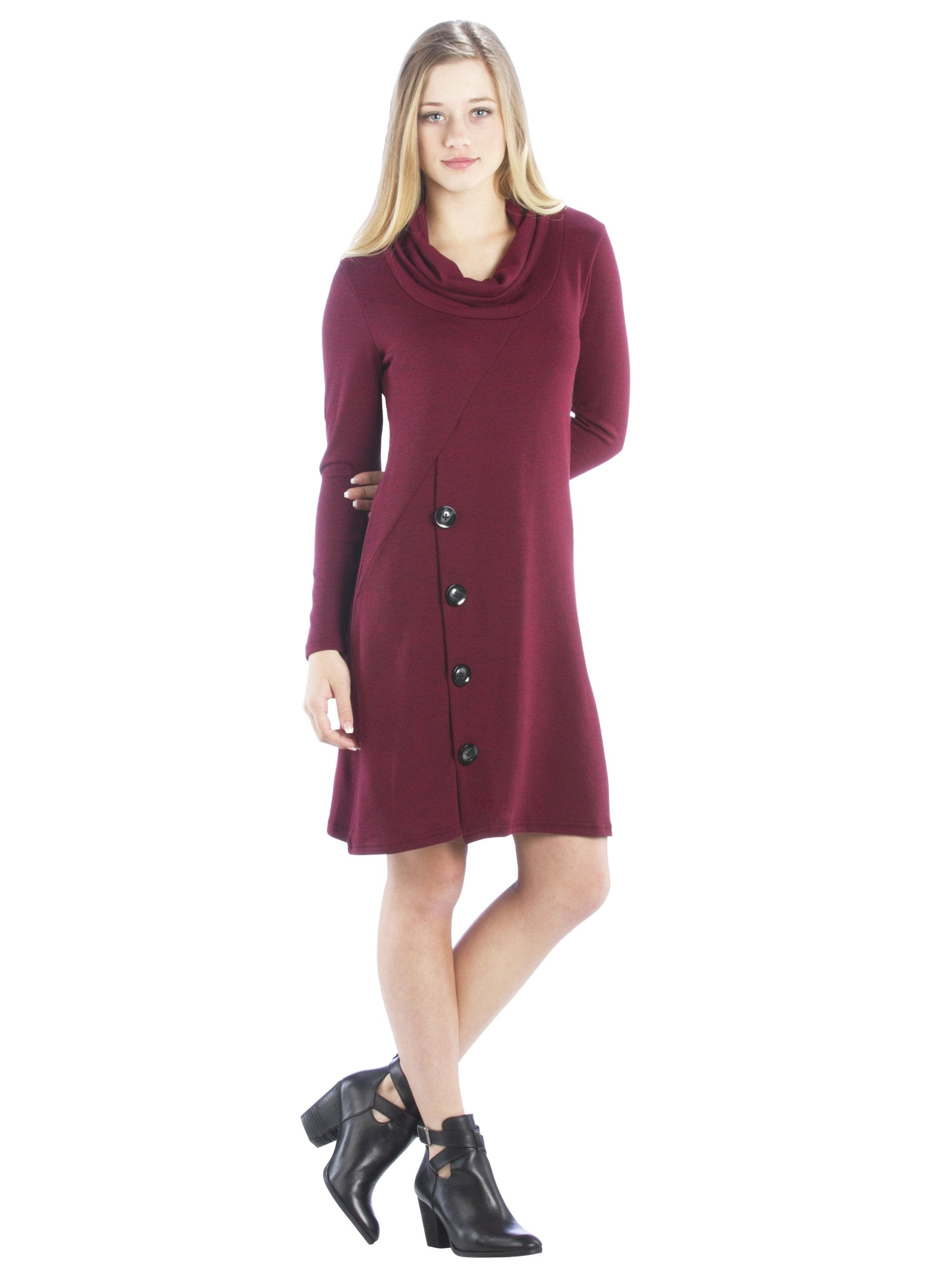 791d319f93 Cowl Neck Sweater Dress with Buttons