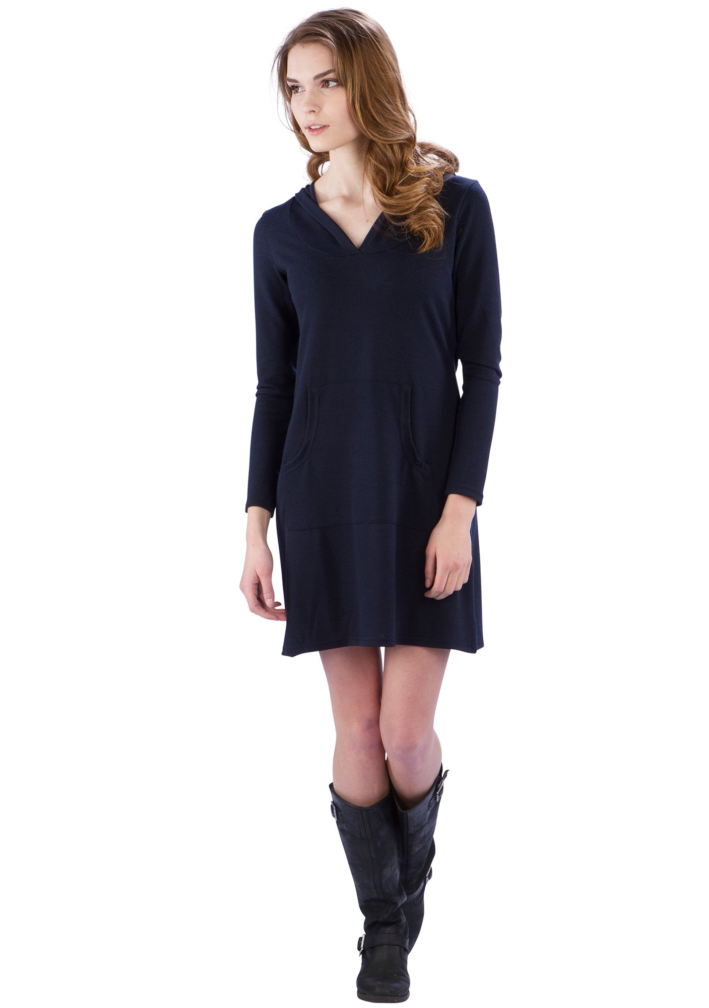 Hoodie Sweater Dress with Kangaroo Pocket and V-Neck