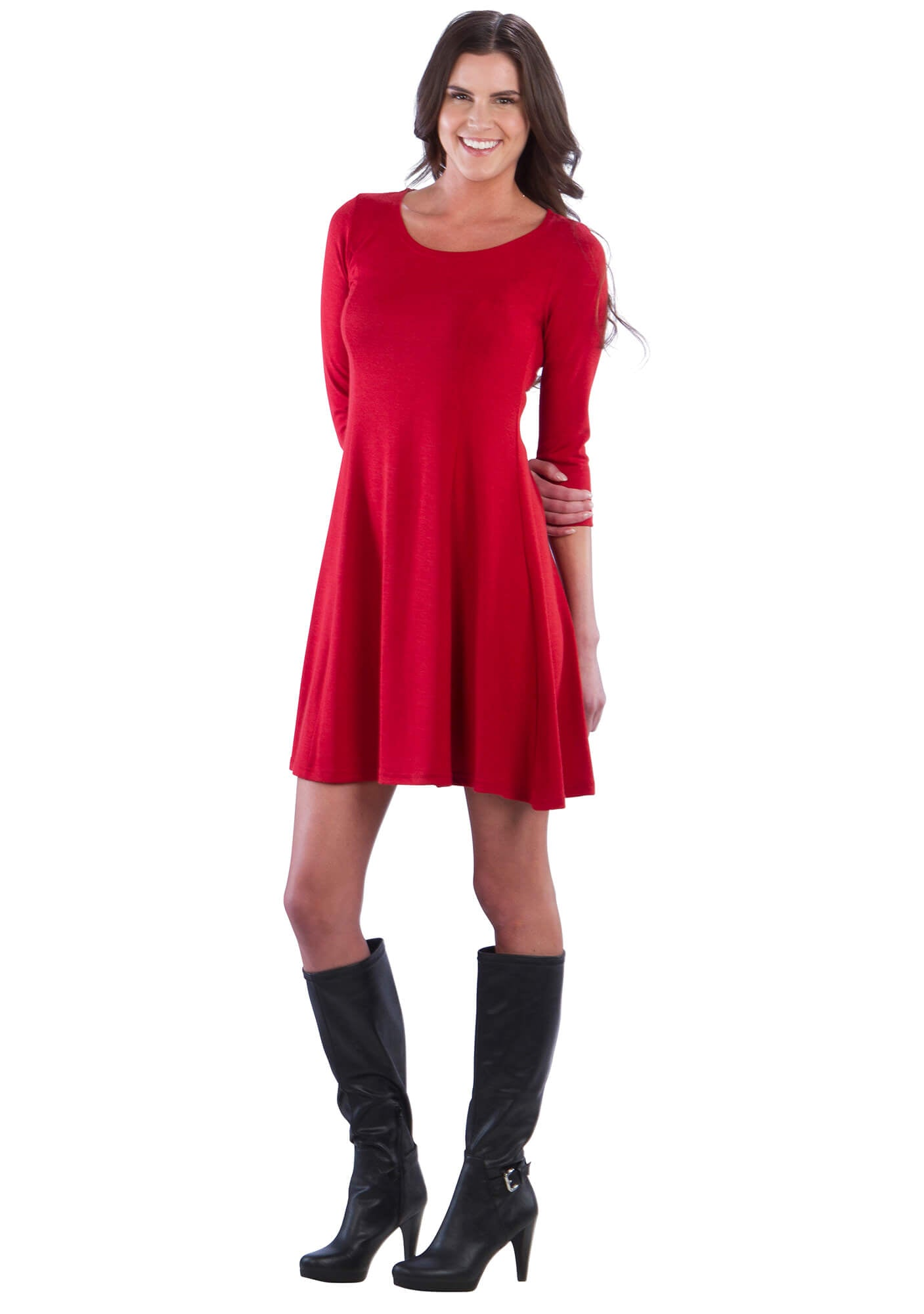 A Line Sweater Dress With Panels