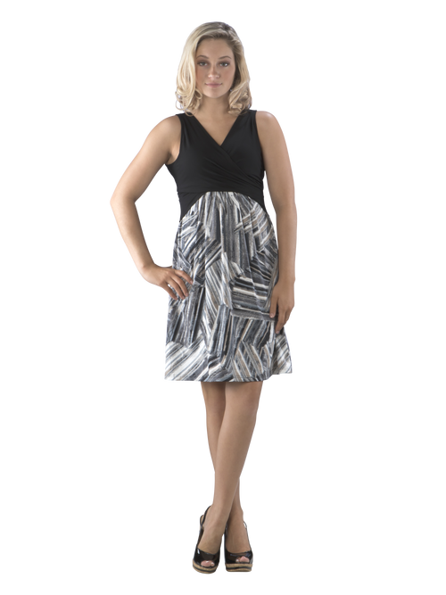 Cross Over Fit and Flare Color Block Swing Dress, Black and Grey Dress, Little Black Dress, LBD