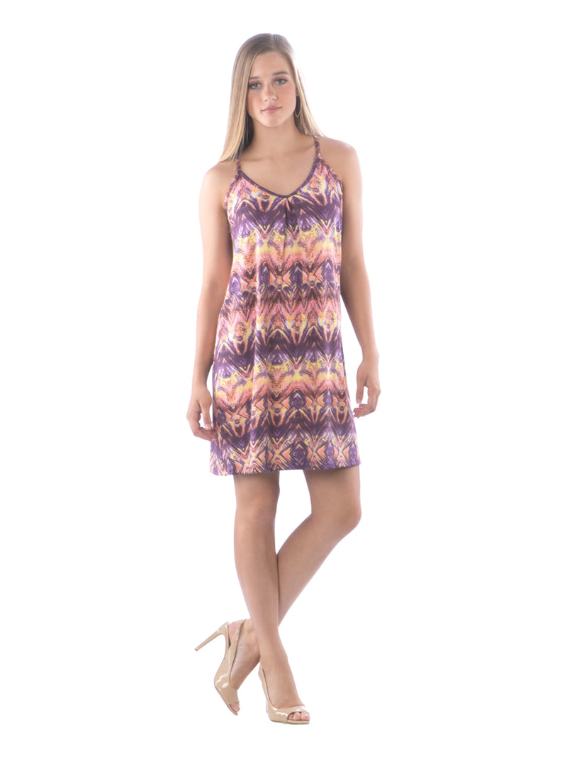 Criss Cross Spaghetti Strap Beach Dress, Purple Dress