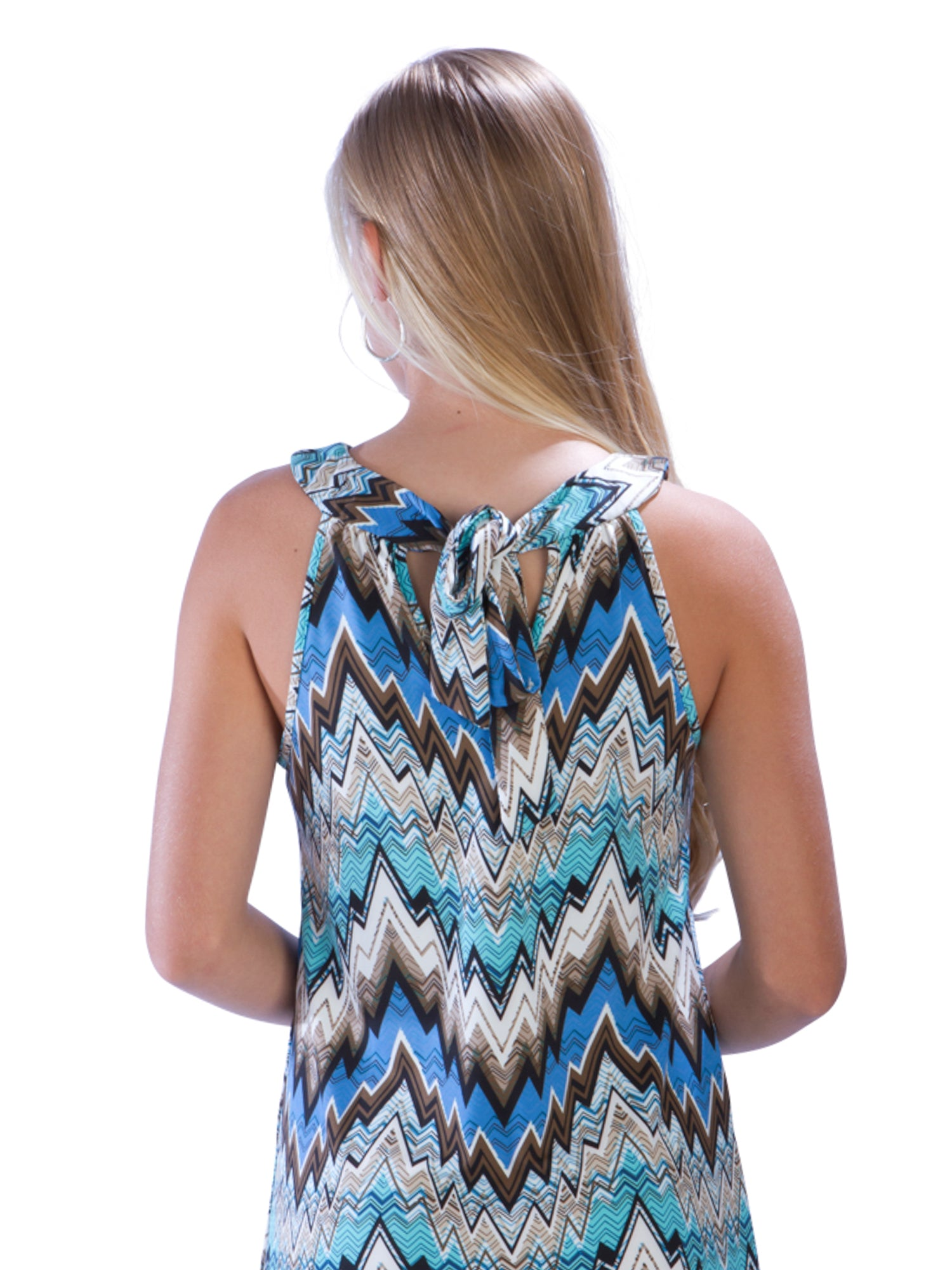 Chevron Print Beach Dress with Tie Neckline