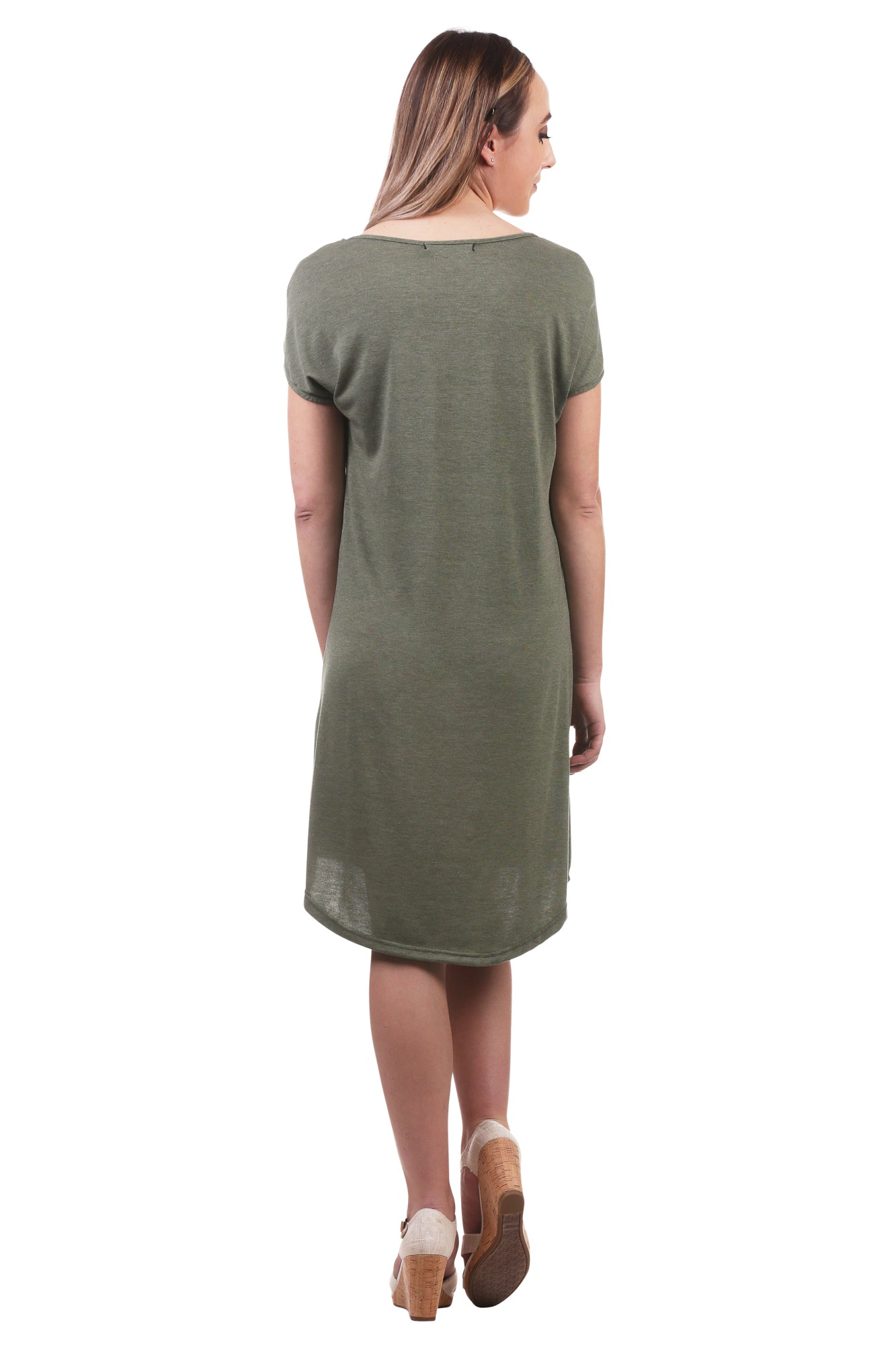 Open Shoulder Dress with Buttons and Slits-Green