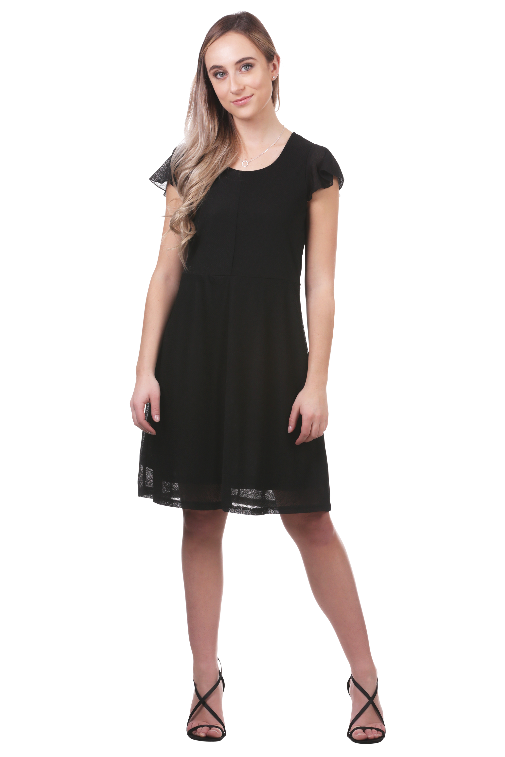 Flutter Sleeve A-Line Panel Dress-Black