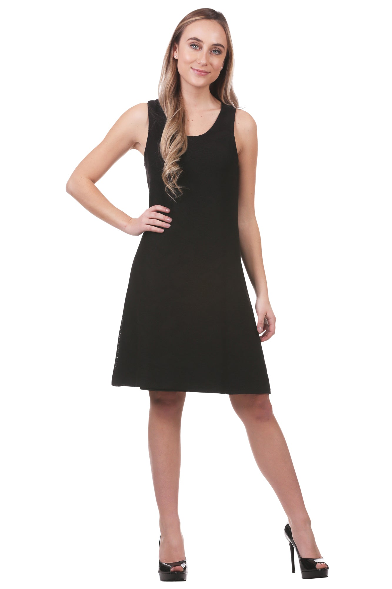 Black Geometric Texture A-Line Dress | Versatile Work Dress | Neesha