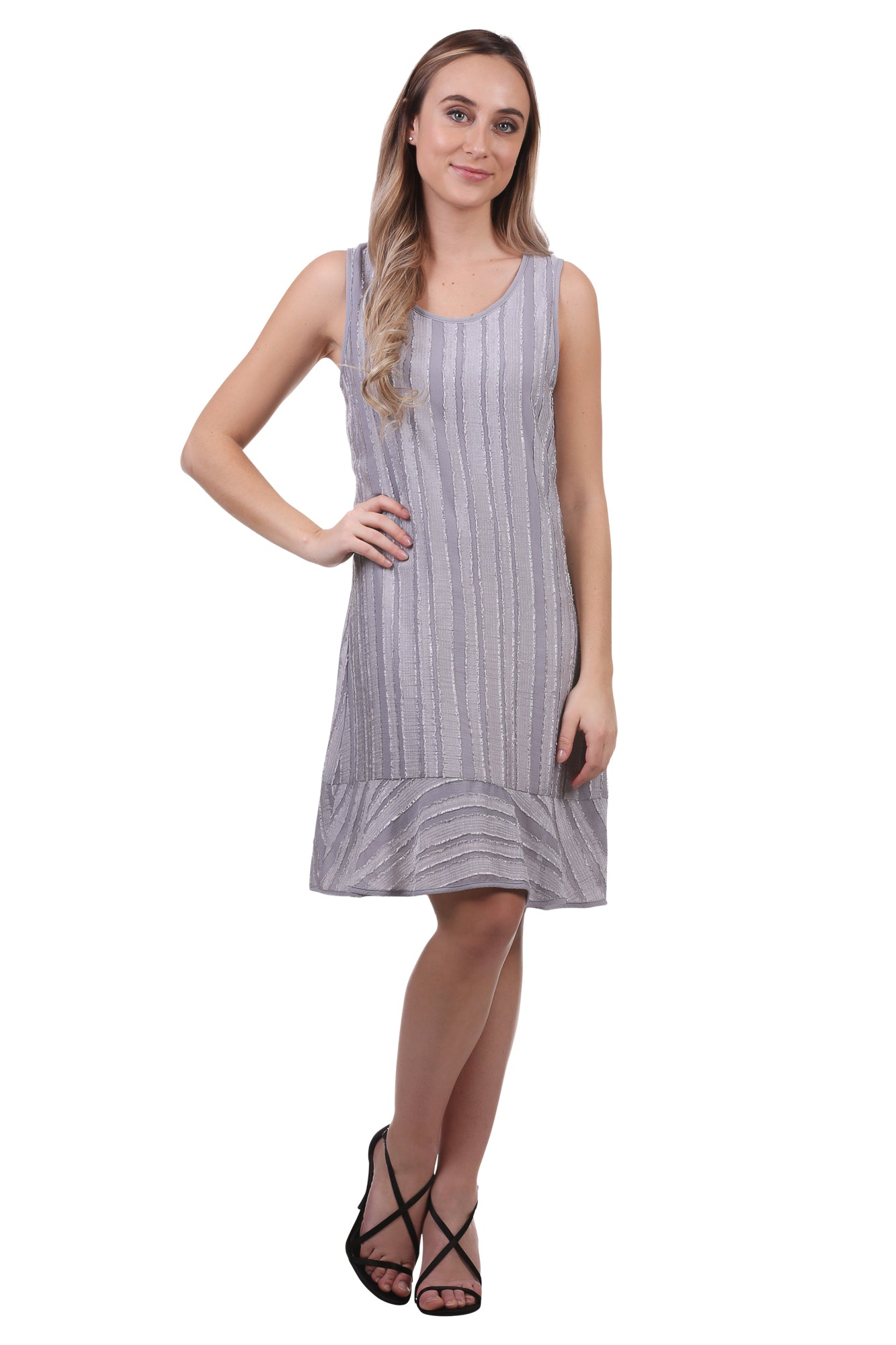 Women's Striped Sheen A-Line Dress with Ruffle | Basic Dress | Neesha