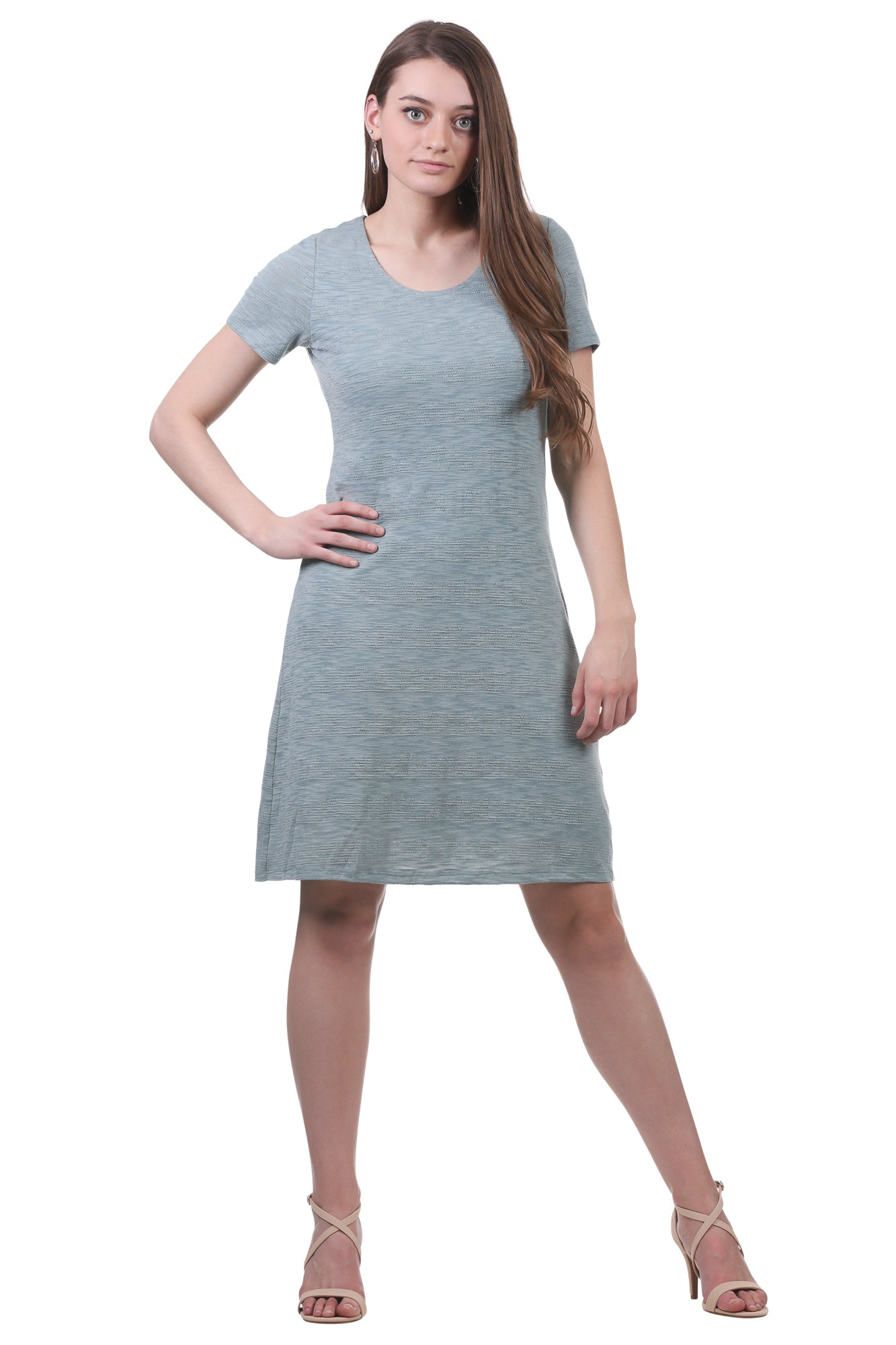 Textured Stripe A-Line Dress-Sage