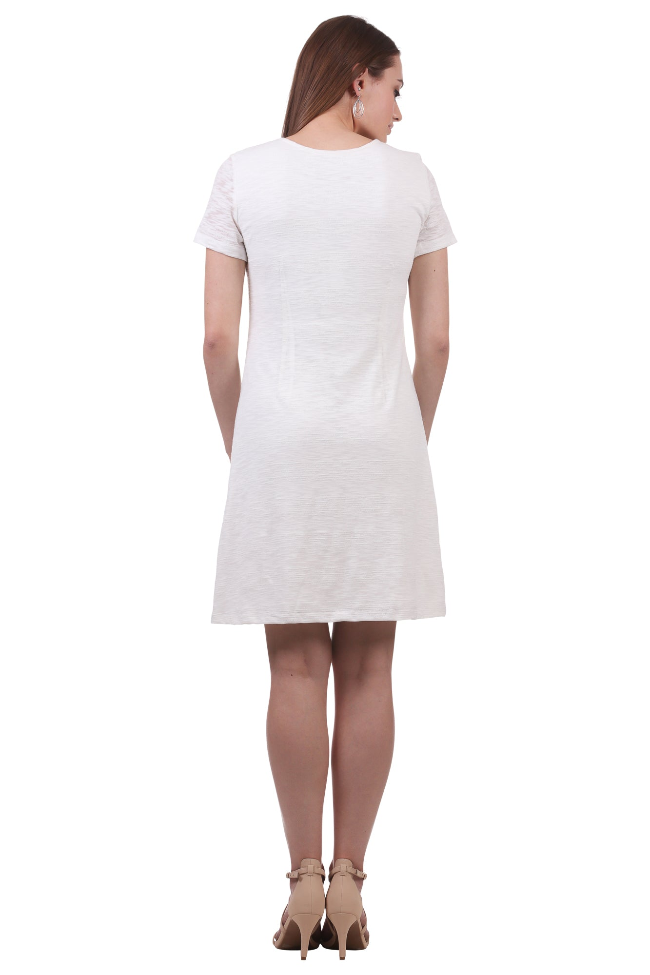 Textured Stripe A-Line Dress-White