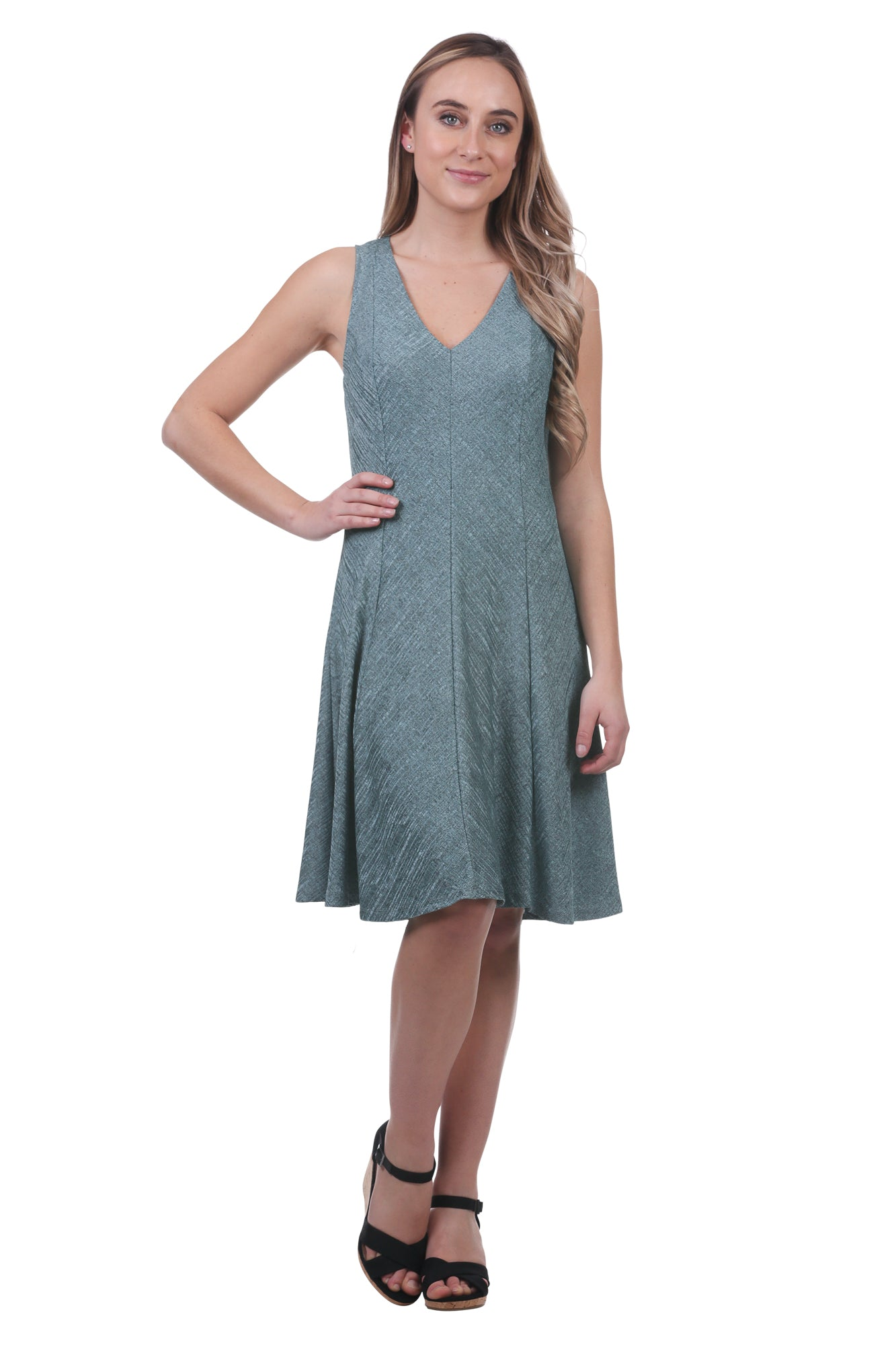 Metallic A-Line Panel Swing Dress-Aqua