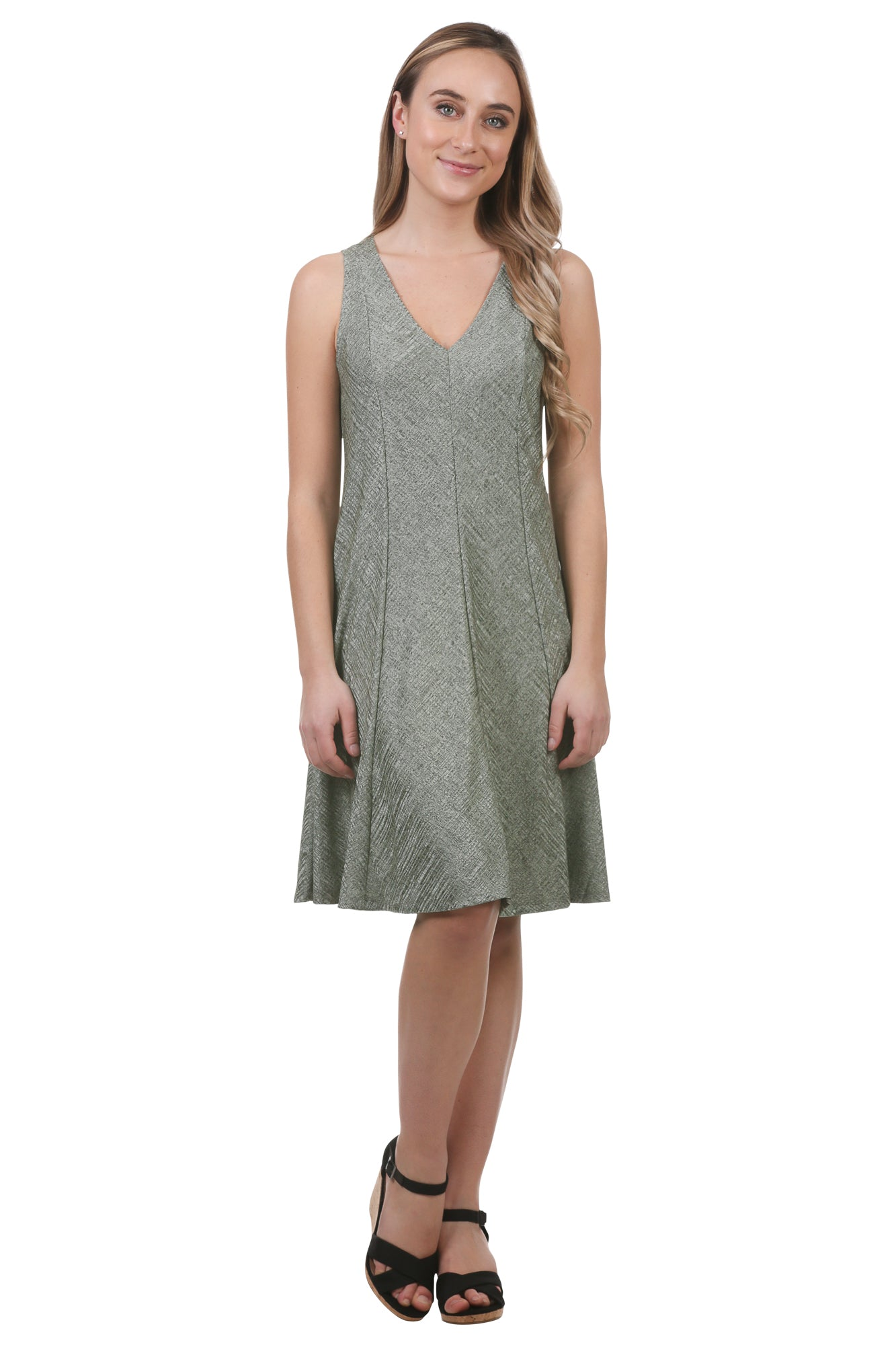Metallic A-Line Panel Swing Dress-Green