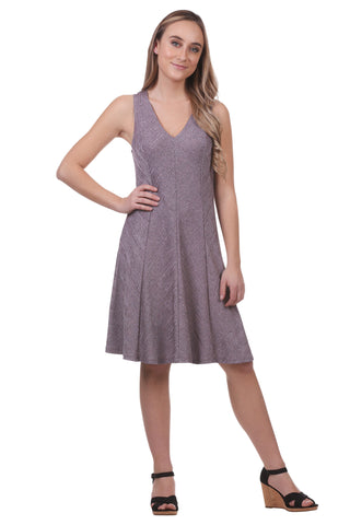 Metallic A-Line Panel Swing Dress-Purple