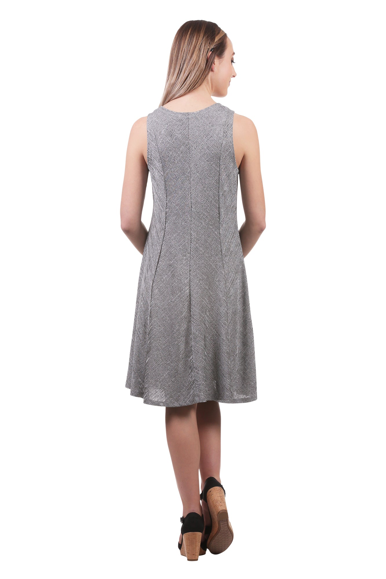 Metallic A-Line Panel Swing Dress-Silver