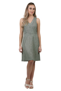 Metallic V-Neck Dress with Waistband