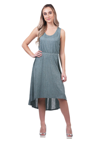 Metallic High Low Dress