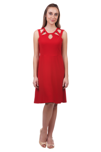 Cut Out Neckline Fit and Flare Dress-Red