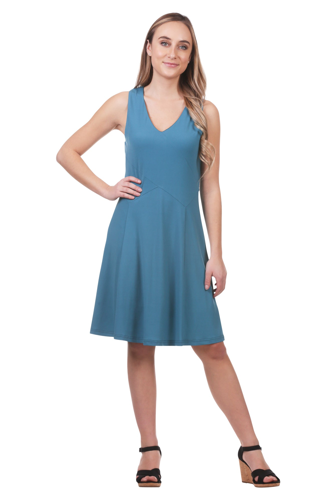 Cross Over Panel A-Line Dress | Black and Blue V-Neck Dress | Neesha