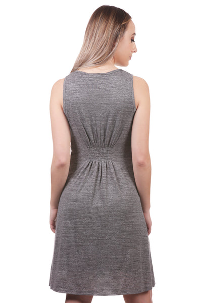 Women's Slub Smocked Button Dress | Grey Fit and Flare Dress | Neesha