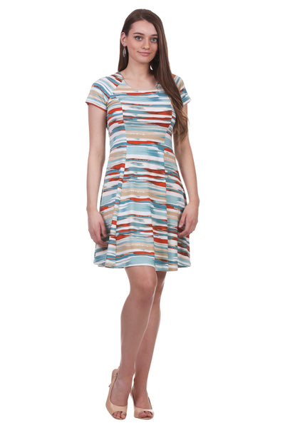 Women's Scoop Neck Princess Seam A-Line Dress | Patterned Dress